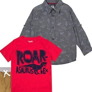 Little Rebels Matching Sets - Boys 3 piece set; Button up, Tee & khaki pants